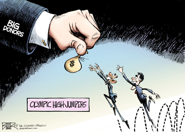 Nate Beeler - The Columbus Dispatch - Going for the Gold COLOR - English - barack obama, mitt romney, politics, campaign, 2012, election, big, donors, money, olympics, high, jumpers, jump, fundraiser, fundraising