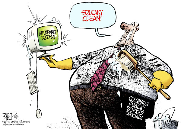 Nate Beeler - The Columbus Dispatch - LOCAL OH - Attendance Scrubbing COLOR - English - columbus, public, schools, education, scrubbing, attendance, data, records, test, scores, grades, cheating, fraud, clean, dirty, officials, children