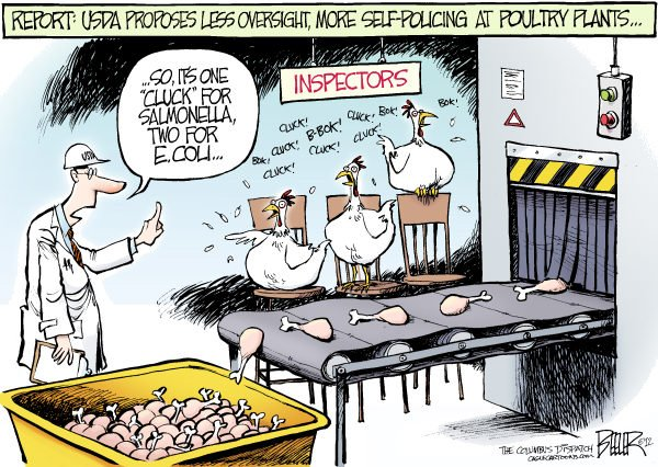 Nate Beeler - The Columbus Dispatch - Poultry Police COLOR - English - USDA, department, agriculture, government, food, safety, poultry, inspections, inspectors, chicken, salmonella, e coli, health, business, plant, industry