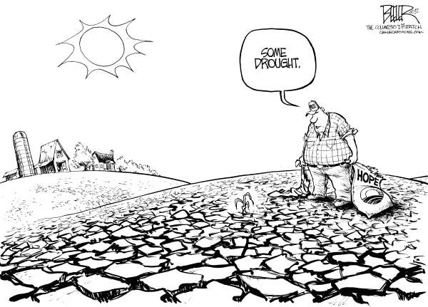 Nate Beeler - The Columbus Dispatch - Drought - English - drought, barack obama, politics, hope, crops, farms, farmers, farming, farm, water, plant, food, campaign, 2012, election