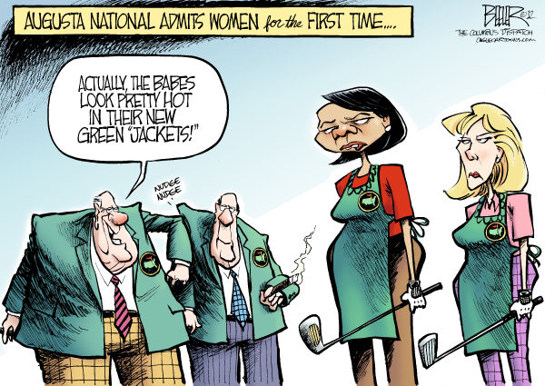 Nate Beeler - The Columbus Dispatch - Augusta National COLOR - English - augusta, national, golf, club, sports, green, jacket, women, condi, condoleezza rice, darla moore, female, golfer, member, sexism