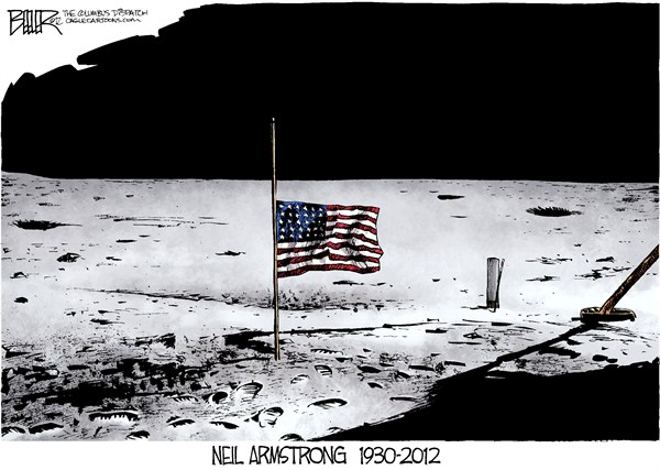 Nate Beeler - The Columbus Dispatch - Neil Armstrong QEPD - Spanish - NASA,espacio,Luna,Neil,Armstrong,astronauta,Apollo,muerte,obituario,bandera,historia,neil-armstrong-dead