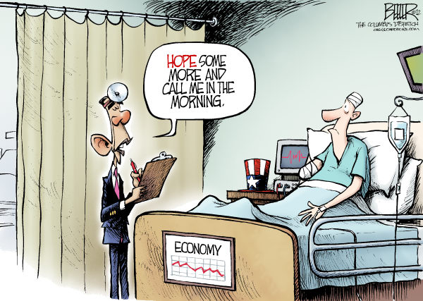 Nate Beeler - The Columbus Dispatch - Obama Prescription COLOR - English - barack obama, hope, economy, recovery, campaign, 2012, politics, election, president, convention, speech, doctor, patient, economics, forward