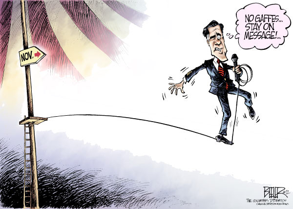 Romney Path to Victory © Nate Beeler,The Columbus Dispatch,mitt romney,gaffe,tightrope,mic,microphone,campaign,2012,election,politics,republican,candidate,november,president,conservative,romney video leak