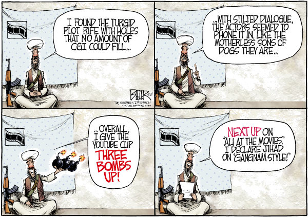 Nate Beeler - The Columbus Dispatch - Film Critic COLOR - English - libya, egypt, tunisia, film, critic, muslim, islam, prophet, mohammed, middle east, protest, embassy, attack, youtube, clip, gangnam style, terrorist, arab