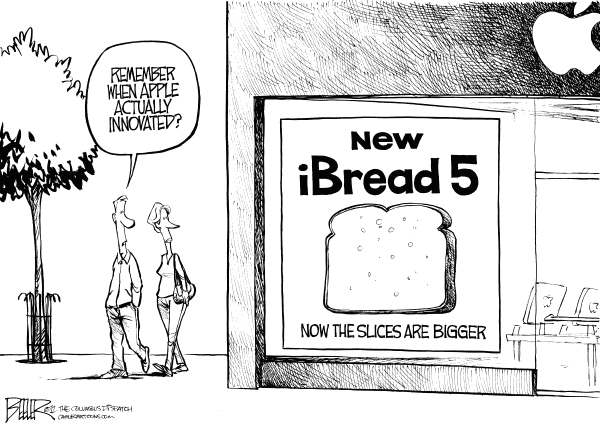 Nate Beeler - The Columbus Dispatch - New iPhone - English - iphone 5, iphone, apple, computer, cellphone, smartphone, innovate, innovative, innovation, technology, ibread, sliced, bread, store, phone, business