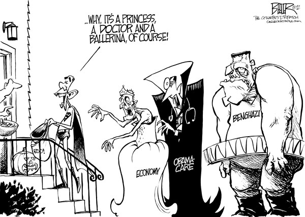 Nate Beeler - The Columbus Dispatch - Halloween Costumes - English - barack obama, halloween, trick or treat, monster, zombie, vampire, dracula, frankenstein, economy, obamacare, health care, benghazi, terror, attack, terrorism, doctor, ballerina, princess, superman, campaign, 2012, election, president, politics