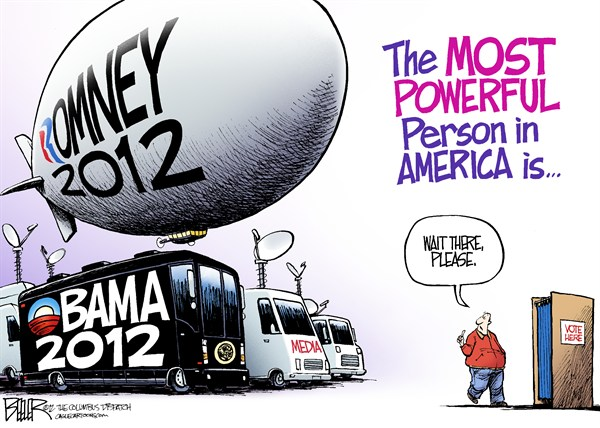 Nate Beeler - The Columbus Dispatch - Election Day 2012 COLOR - English - vote, election, voter, ballot, box, blimp, mitt romney, barack obama, media, bus, truck, powerful, person, america, politics, campaign, 2012