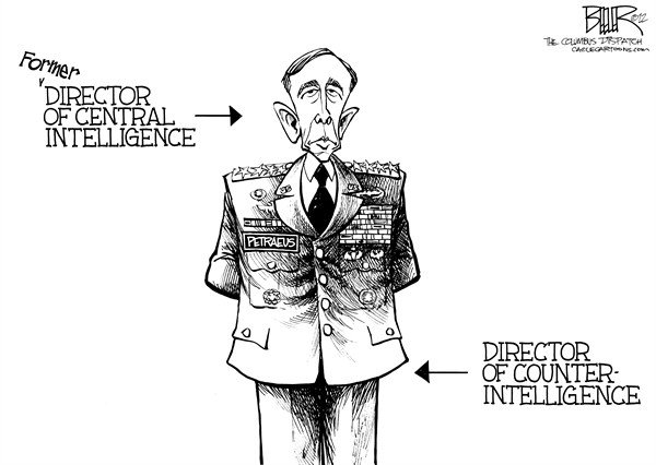 Nate Beeler - The Columbus Dispatch - Petraeus Scandal  - English - general, david petraeus, sex, scandal, affair, extramarital, cia, director, central intelligence agency, counterintelligence, politics, pentagon, langley, broadwell, military