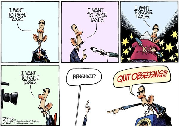 Obama Obsession © Nate Beeler,The Columbus Dispatch,barack obama, taxes, tax, cuts, bush, rich, benghazi, foreign affairs, libya, politics, raise, spending, fiscal cliff, government, media, obsession, obsessing