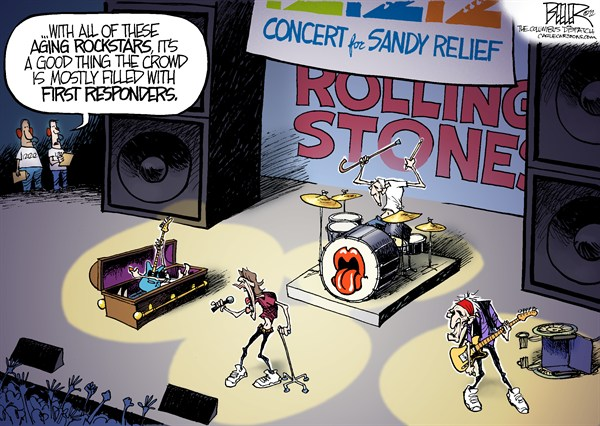 Aging Rockers © Nate Beeler,The Columbus Dispatch,rolling stones,rock,rockstar,star,aging,concert,relief,sandy,superstorm,new york,new jersey,music,british,paul mccartney,the who,roger waters,eric clapton,121212,benefit,first responders,mick jagger,keith richards,old,best of,best of celebrities