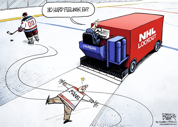 Nate Beeler - The Columbus Dispatch - NHL Lockout Ends COLOR - English - nhl, national, hockey, league, ice, sports, fans, zamboni, lockout, rink, players, season, owners