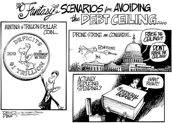 Nate Beeler - The Columbus Dispatch - Debt Ceiling Scenarios - English - barack obama, politics, trillion, dollar, coin, mint, drone, strike, congress, debt, ceiling, deficits, spending, federal, budget, government, president, scenarios
