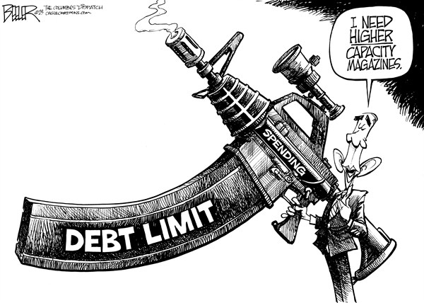 Nate Beeler - The Columbus Dispatch - Obama the Enthusiast - English - barack obama, debt, limit, ceiling, assault, weapon, rifle, high, capacity, magazine, gun, control, spending, government, deficit, politics