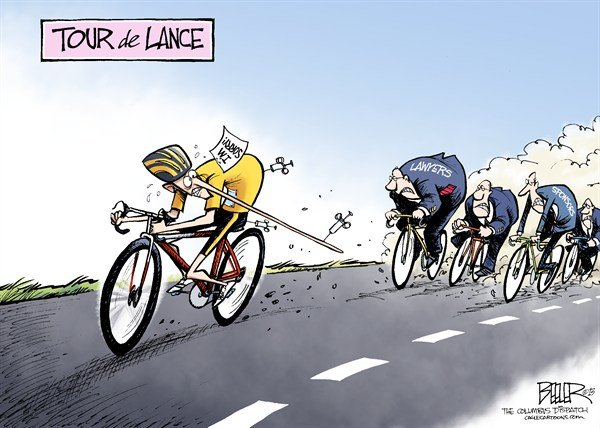 Nate Beeler - The Columbus Dispatch - Tour de Lance COLOR - English - lance armstrong, cycling, bicycle, bike, doping, steroids, performance, enhancer, cheat, cheating, cheater, liar, lie, sorry, apology, oprah, lawyers, sponsors, lawsuits, tour de france, sports, livestrong