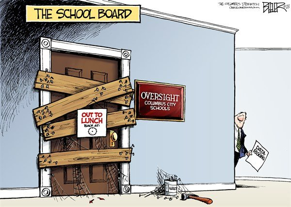 Nate Beeler - The Columbus Dispatch - LOCAL OH - School Board COLOR - English - columbus, school, board, schools, education, oversight, data, rigging, scrubbing, scandal, students, children