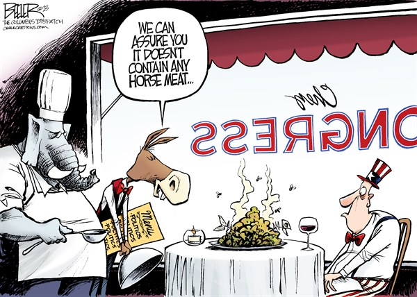 Nate Beeler - The Columbus Dispatch - Mysterious Food COLOR - English - politics,horse,meat,europe,ikea,meatballs,chez,donkey,elephant,democrats,menu,chef,restaurant,house,congress, GOP, horse meat, republicans, senate, sequester