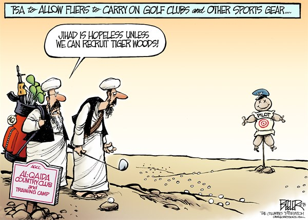 Nate Beeler - The Columbus Dispatch - TSA Relaxes Rules COLOR - English - al qaida, al qaeda, jihad, tsa, golf, club, tiger woods, sports, terrorism, terrorist, transportation, security, plane, flight, pilot, travel