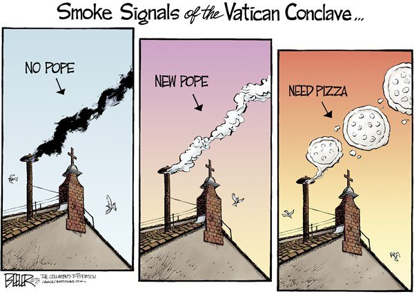 Nate Beeler - The Columbus Dispatch - Smoke Signals COLOR - English - pope, vatican, conclave, smoke, signal, pizza, catholic, church, benedict, catholicism, religion, italy, chimney, cardinals