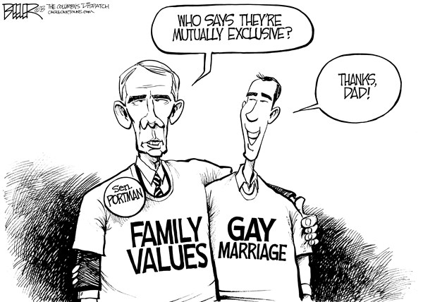 Nate Beeler - The Columbus Dispatch - Portman Backs Gay Marriage - English - rob portman, senator, son, gay, marriage, same, sex, homosexual, civil union, family values, politics, ohio, republican, conservative, gop, social, family