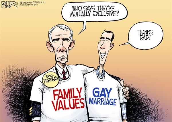 Nate Beeler - The Columbus Dispatch - Portman Backs Gay Marriage COLOR - English - rob portman, senator, son, gay, marriage, same, sex, homosexual, civil union, family values, politics, ohio, republican, conservative, gop, social, family