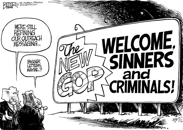 Nate Beeler - The Columbus Dispatch - Republican Rebranding - English - gop, republican, brand, message, messaging, outreach, sinners, criminals, minority, minorities, latinos, hispanics, gays, conservatives, politics, political, party, elephant