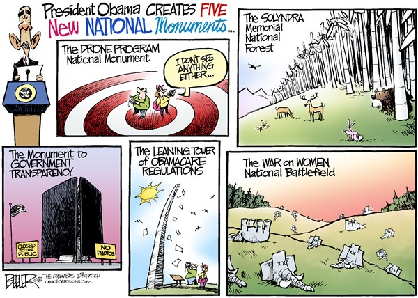National Monuments © Nate Beeler,The Columbus Dispatch,barack obama, monument, drone, solyndra, wind, power, government, transparency, obamacare, regulations, health care, war, women, republican, national