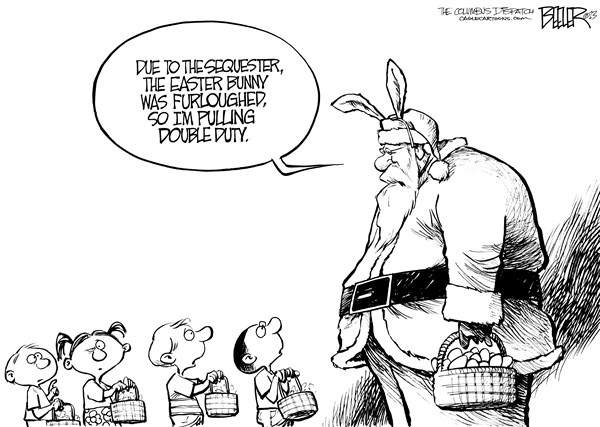 Nate Beeler - The Columbus Dispatch - Easter Sequester - English - easter, bunny, santa, furlough, sequester, sequestration, government, spending, congress, barack obama, cuts, holiday, kids, children, eggs