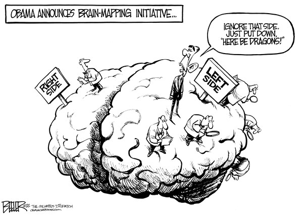 Nate Beeler - The Columbus Dispatch - Brain Mapping - English - barack obama, brain, map, mapping, initiative, health, science, government, medicine, left, right, conservative, liberal, president, politics, research, dragons