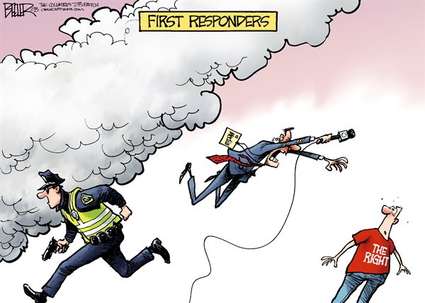 Nate Beeler - The Columbus Dispatch - Boston First Responders COLOR - English - boston, marathon, bombing, bomb, terrorism, terror, police, first, responder, media, press, right, blame, tea party, conservatives, bias, liberal, extremism, extremist, attack
