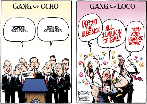Nate Beeler - The Columbus Dispatch - Immigration Reform COLOR - English - gang of ocho, gang of eight, senate, senators, rubio, schumer, mccain, graham, flake, menendez, durbin, bennet, conservatives, right, wing, talk, radio, rush limbaugh, immigration, reform, illegal, immigrant, deport, democrat, republican, politics