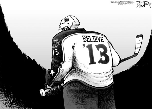 Nate Beeler - The Columbus Dispatch - LOCAL OH - Blue Jackets Believe - English - blue jackets, hockey, columbus, cbj, believe, ohio, nhl, playoffs, sports
