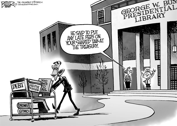 Nate Beeler - The Columbus Dispatch - Bush Library Reading Material - English - george, w, bush, presidential, library, debt, executive, privilege, too big to fail, drones, gitmo, spending, barack obama, president, politics, history