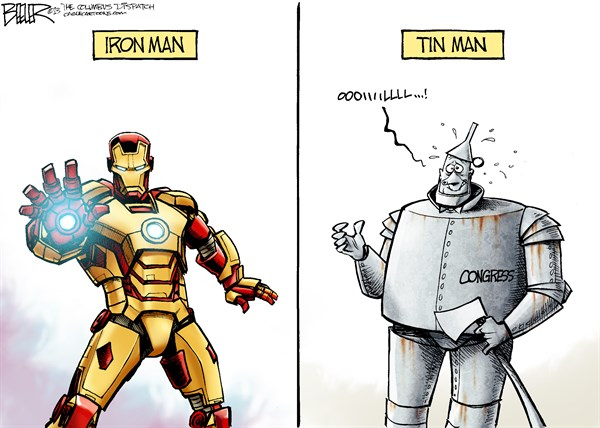 Nate Beeler - The Columbus Dispatch - Iron Man COLOR - English - iron man, tin man, congress, politics, comic, book, superhero, marvel, wizard of oz, gridlock, house, senate, republicans, democrats, partisanship