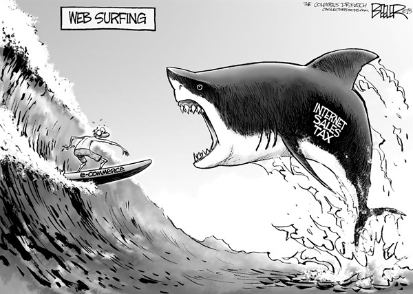 Nate Beeler - The Columbus Dispatch - Internet Sales Tax - English - internet, sales tax, taxes, web, surfing, commerce, business, shark, surfer, surf, government, states