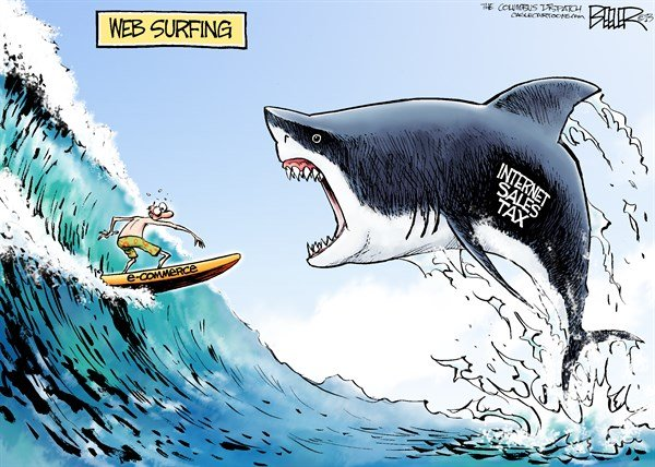 Nate Beeler - The Columbus Dispatch - Internet Sales Tax COLOR - English - internet, sales tax, taxes, web, surfing, commerce, business, shark, surfer, surf, government, states
