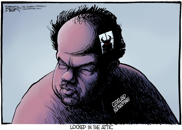 Nate Beeler - The Columbus Dispatch - Cleveland Kidnappings COLOR - English - cleveland, kidnapping, kidnap, kidnapper, ohio, crime, abduction, captivity, devil, amanda berry, ariel castro,  Gina DeJesus, Michelle Knight, locked, attic