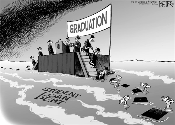 Nate Beeler - The Columbus Dispatch - Underwater Graduates - English - graduation, college, graduate, student, loan, debt, diploma, degree, education, higher, university