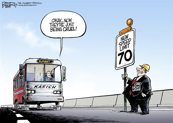 Nate Beeler - The Columbus Dispatch - LOCAL OH - Speed Limit COLOR - English - john kasich, governor, ohio, state, legislature, legislators, budget, agenda, bus, speed, limit, 70, politics