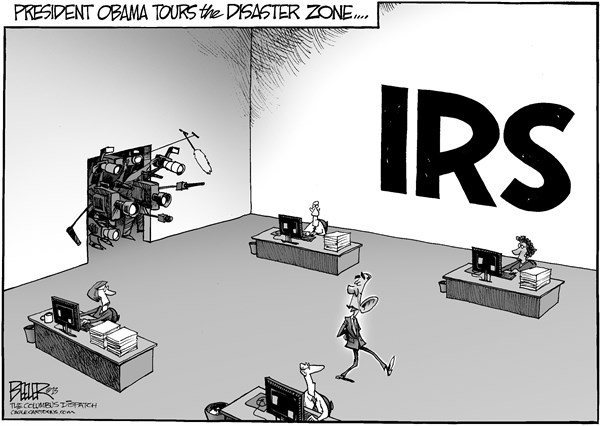 Nate Beeler - The Columbus Dispatch - Disaster Tour - English - barack obama, president, disaster, zone, irs, scandal, internal revenue service, government, targeting, conservative, groups, politics