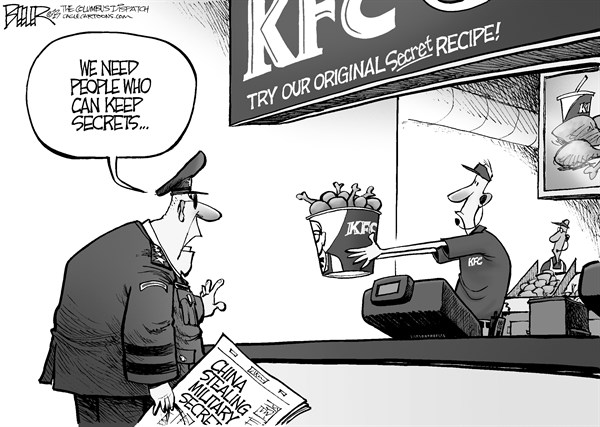Nate Beeler - The Columbus Dispatch - Military Secrets - English - military, us, united states, america, china, secret, armed forces, stealing, steal, stole, kfc, kentucky fried chicken, recipe, chicken, cyber, security, hack, hacking, world, foreign affairs, internet, technology