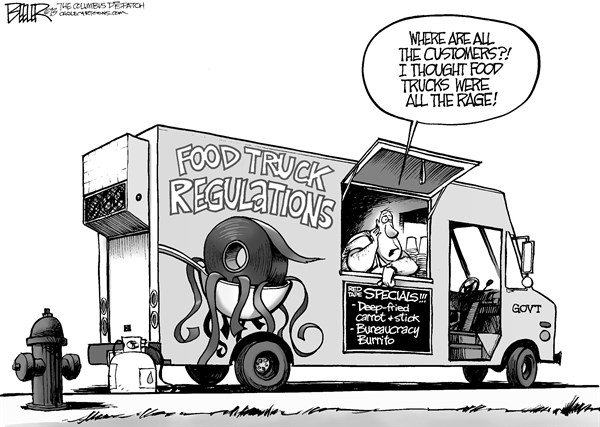 Nate Beeler - The Columbus Dispatch - Food Trucks - English - food, truck, columbus, city, regulation, government, red tape, bureaucracy