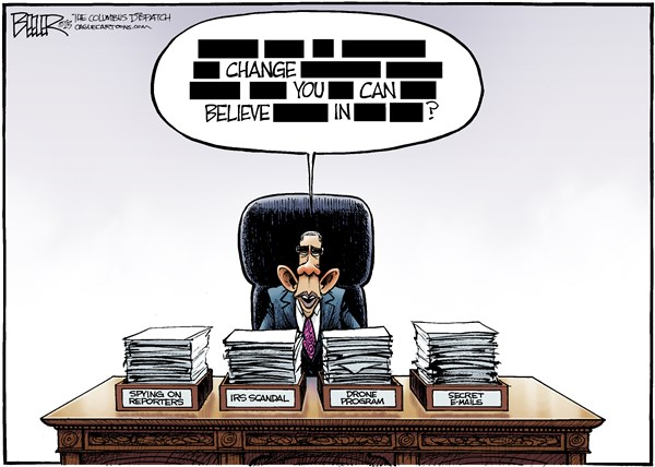 Redacted Obama © Nate Beeler,The Columbus Dispatch,barack obama,transparency,secrecy,politics,spying,reporters,journalists,free speech,journalism,drone,irs,scandal,email,change you can believe in,secret,justice,department,government,AP records, benghazi coverup, eric holder, IRS Tea Party, obama scandals, obama second term