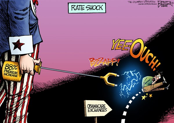 Obamacare Rate Shock © Nate Beeler,The Columbus Dispatch,obamacare, rate, premium, increase, hike, exchange, health, care, reform, affordable care act, aca, prod, shock, costs
