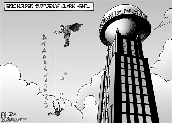 Nate Beeler - The Columbus Dispatch - Superman Subpoena - English - superman, daily planet, reporter, clark kent, comic, book, man of steel, movie, eric holder, attorney general, subpoena, journalist, journalism, ap, associated press, fox, news, justice, department, doj, snooping, spying, press, media