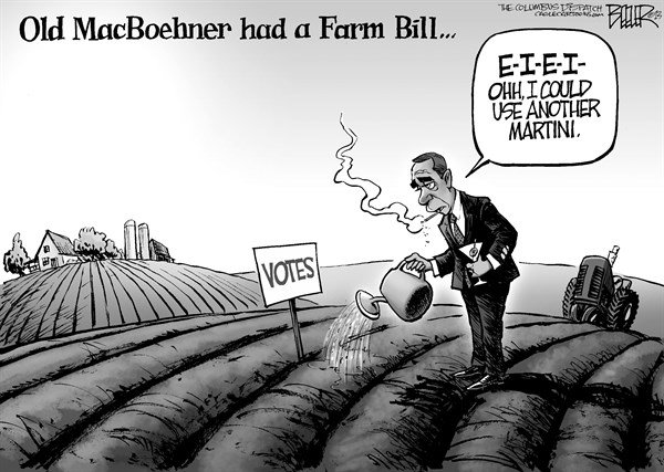 Nate Beeler - The Columbus Dispatch - Old MacBoehner - English - john boehner, house, speaker, republican, farm, bill, macboehner, votes, politics, congress
