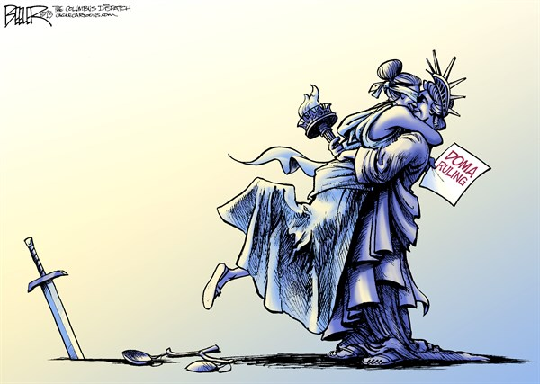 Nate Beeler - The Columbus Dispatch - Gay Marriage COLOR - English - gay, marriage, doma, defense of marriage act, government, supreme court, justice, lady liberty, freedom, equality, hug, lady, homosexual, partner, civil union, statue