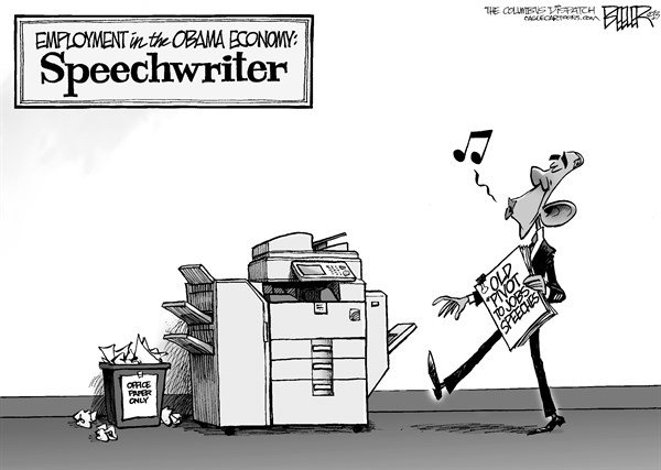 Nate Beeler - The Columbus Dispatch - Jobs Speech - English - barack obama, pivot, jobs, employment, economy, copier, speech, speechwriter, politics, president, government