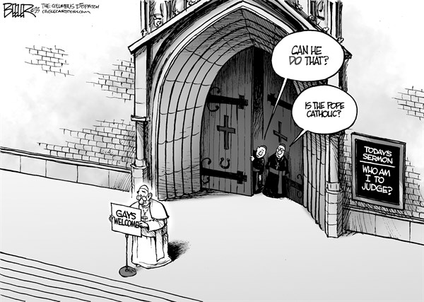 Nate Beeler - The Columbus Dispatch - The Pope and Gays - English - catholic, church, catholicism, pope, francis, gays, gay, homosexuality, homosexual, welcome, religion, christianity