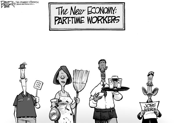 Nate Beeler - The Columbus Dispatch - Part-Time Jobs - English - barack obama, jobs, part, time, workers, unemployment, economy, recession, business, agenda, politics